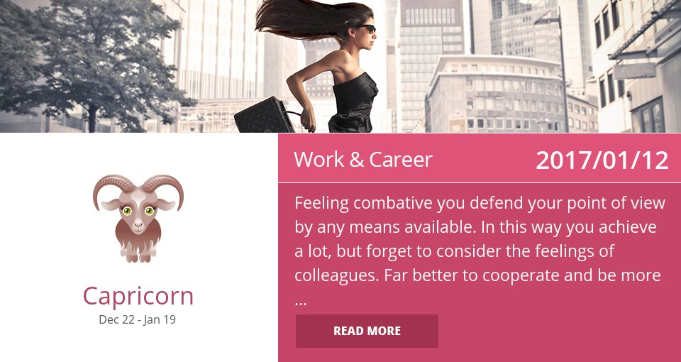Jan 12, 2017: Work Horoscope => See more: https://t.co/CiJVVVS19y Accurate? Like = Yes #Capricorn #Horoscope https://t.co/CfxLxZOhC4