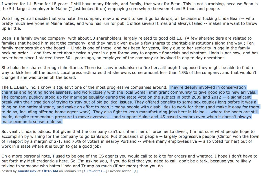 comment about LL Bean from a Mainer on metafilter: short version: Linda absolutely sucks, company as a whole is good https://t.co/dCGrN6FwXC
