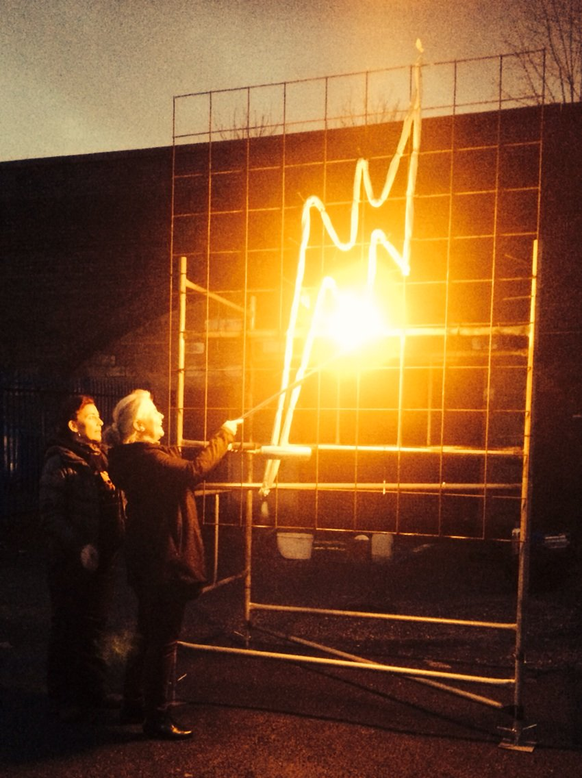 Sheila from @LimerickArts lights the fire drawing @europe_creative #SchoolofSpectacle partners meeting #Salford https://t.co/XYohBrziwI
