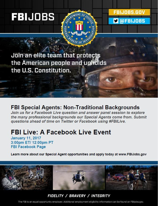 Facebook Live event this Wed (Jan 11) 2pm CST. Meet agents from non-traditional backgrounds. Use #FBILive to submit questions ahead of time. <br>http://pic.twitter.com/5sI1r3c9fd