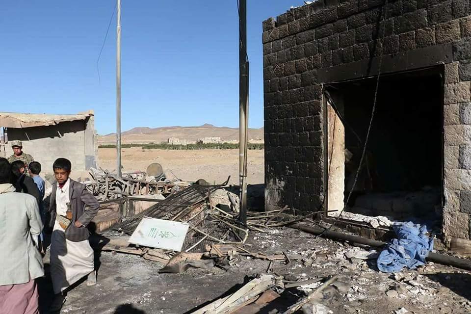 School hit by Saudi airstrike in Nehm, East Sanaa. 8 killed including head teacher and 6 children between 8-12