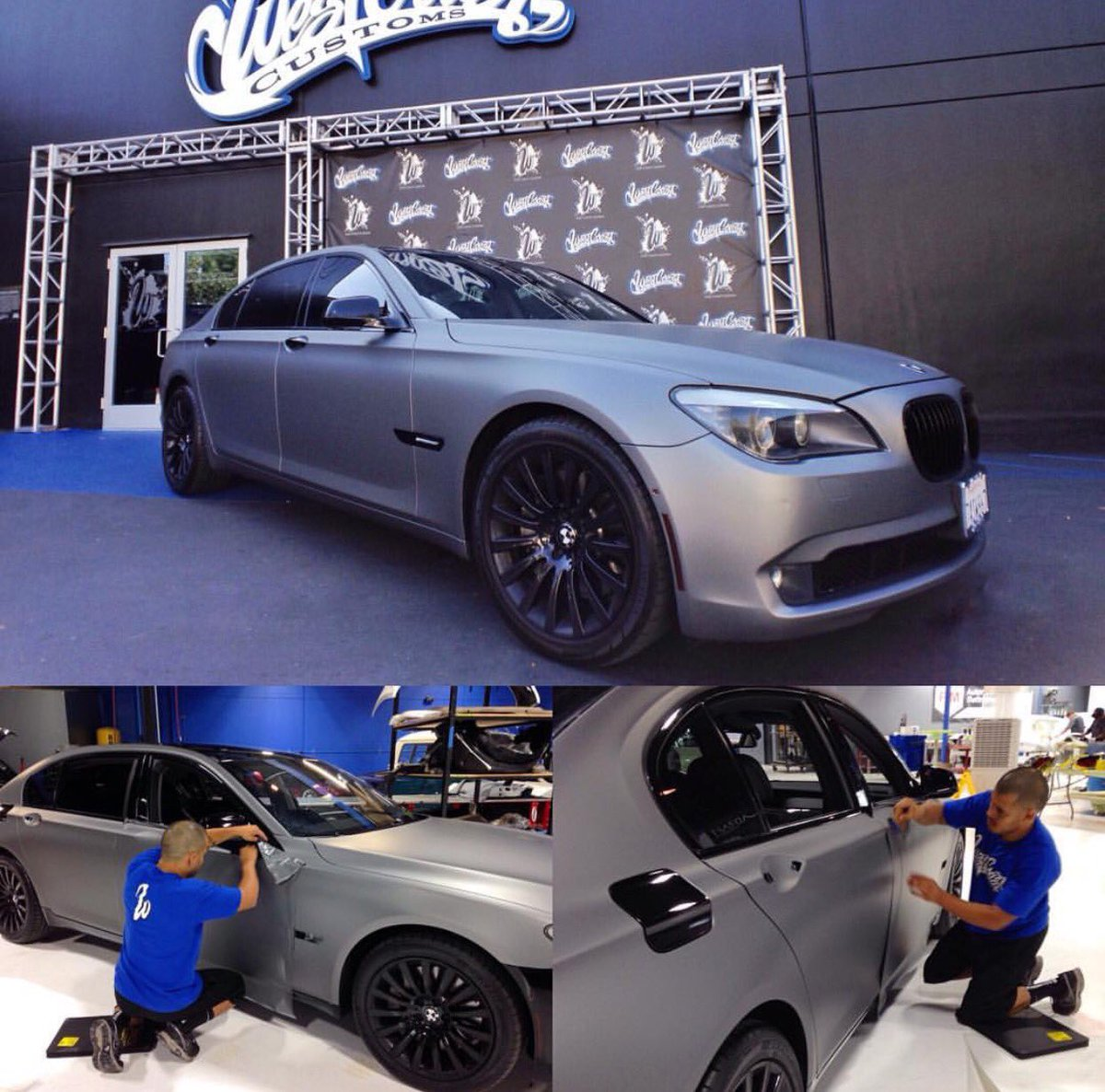 West Coast Customs On Twitter BMW 750 Series Wrapped In Gunmetal With Oracle Halos WCC WCCBurbank WestCoastCustoms CustomCars 7series