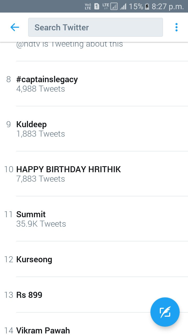 HAPPY BIRTHDAY HRITHIK is still trending at no.10 HBD KAABIL HRITHIK ROSHAN