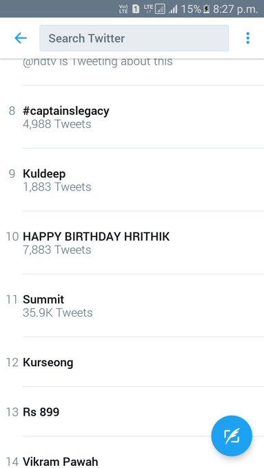HAPPY BIRTHDAY HRITHIK is still trending at no.10 HBD KAABIL HRITHIK ROSHAN
