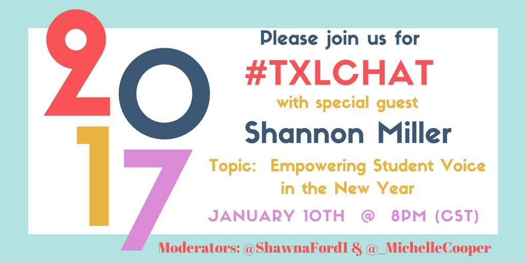 Please join #txlchat tonight at 8:00pm (CST) to chat about #StuVoice wth special guest @shannonmmiller #tlchat #edtechchat #txeduchat https://t.co/VjKfZIsW27