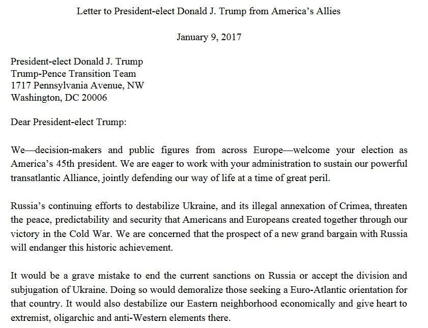 Putin does not seek American greatness. As your allies, we do. Letter to @realDonaldTrump by 17 European leaders