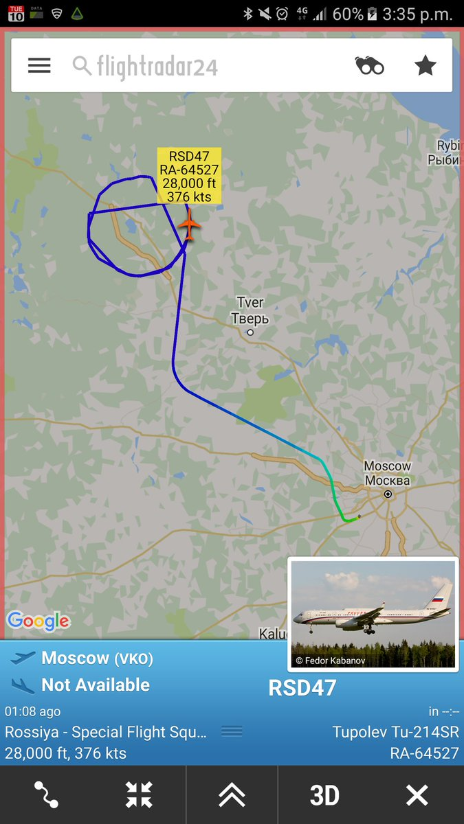 Russian Special Flight Squadron Tu-214SR circling N-W to Tver