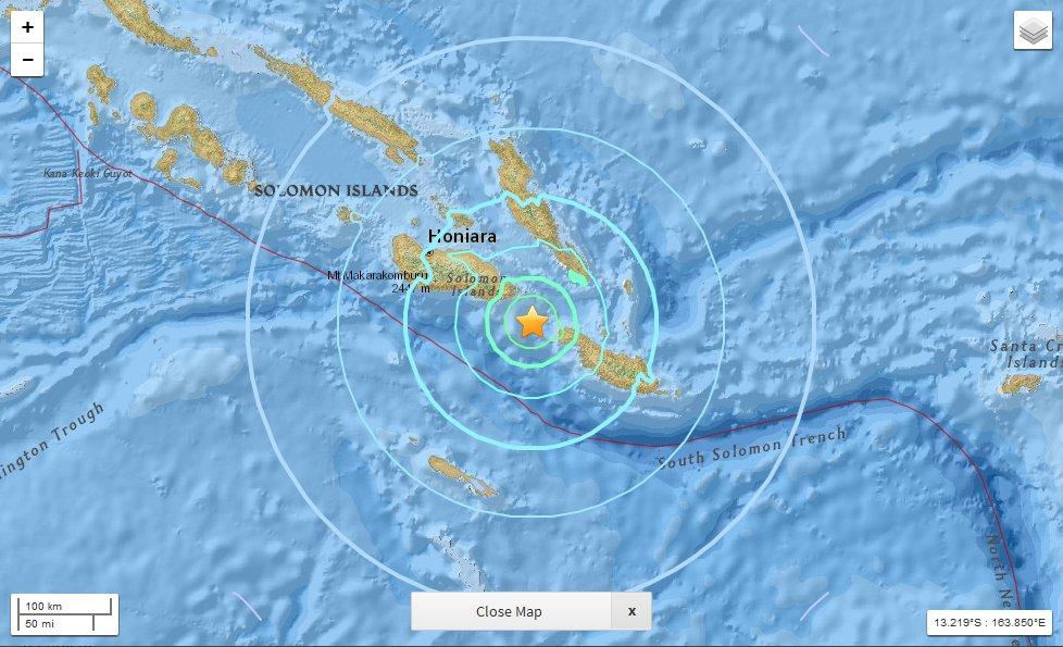 Forte terremoto adesso nelle Isole Salomone