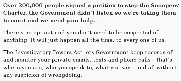 The UK now tracks everything you do, despite protests. You can help @libertyhq win this historic case. Please share! https://t.co/hbyaUKjhvy