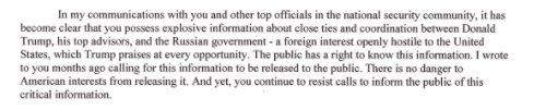 CNN report today contains same allegation as Harry Reid wrote to James Comey about 10 weeks ago: Trump exchanging information with Russia.
