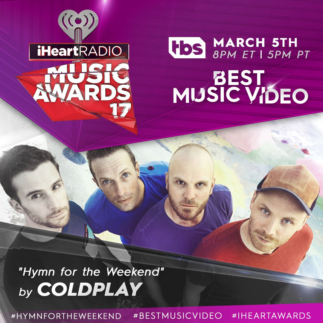 Hey @Coldplay fans, it\'s time to win #BestMusicVideo! Vote #HymnForTheWeekend at our #iHeartAwards with a RT 🙌
