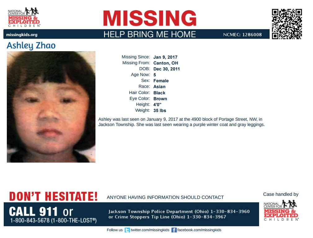 Found Murdered: Ashley Zhao, 5 year old female, North Canton, OH