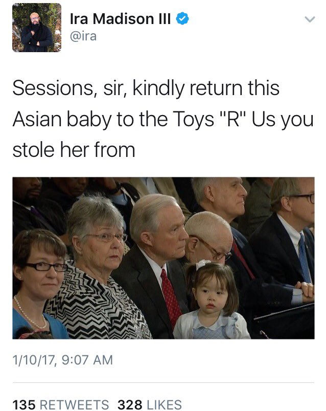 Ira Madison MTV: Sessions should return Asian granddaughter to Toys R Us