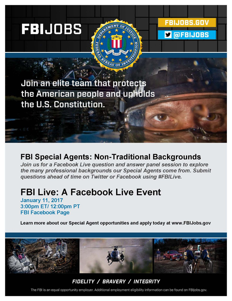 FBI Agents come from all kinds of professional backgrounds &amp; majors!  FB Live event on Wed, Jan 11 at 3 pm @FBI Got Q&#39;s?  Submit #FBILive <br>http://pic.twitter.com/c5tBEtbBZQ