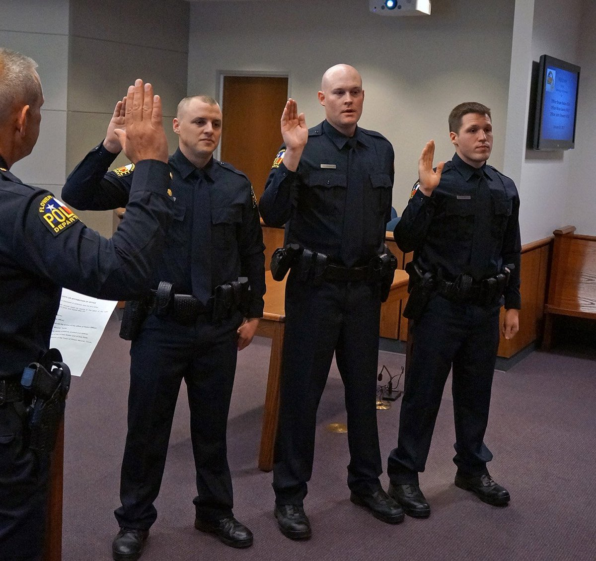 """Flower Mound PD on Twitter: """".@FMPDChief Andy Kancel swore in three new members to the FMPD family, today. Welcome Officer Sauter, Officer Stewart, ..."""