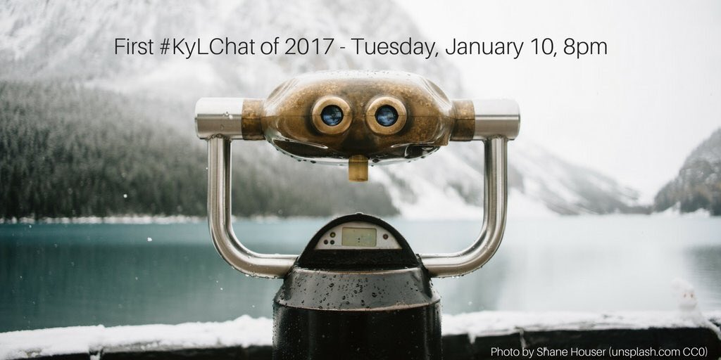 Join @HCHSLibrarian tonight! 1st #KyLChat of 2017! Reflecting on year so far. goals moving ahead? Will talk Future Ready Librarians! 8pm et https://t.co/cZmUsp0bHX
