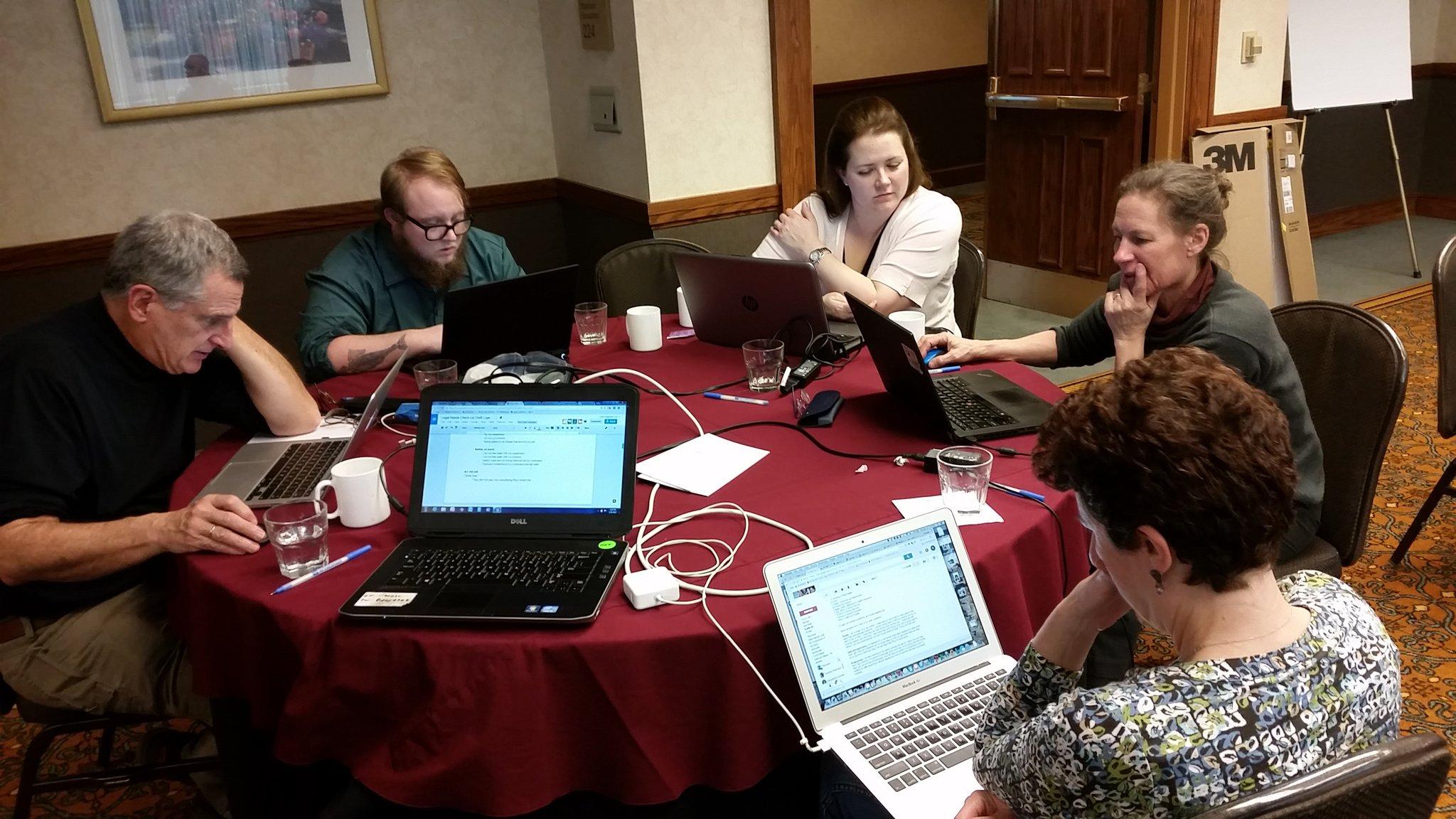 Legal check up working group at #LSCTIG Drupal #Hackathon getting it done! @A2JAuthor @PineTreeLegal @ILAO @MassLS @MassLegalHelp https://t.co/6skUFvVsku