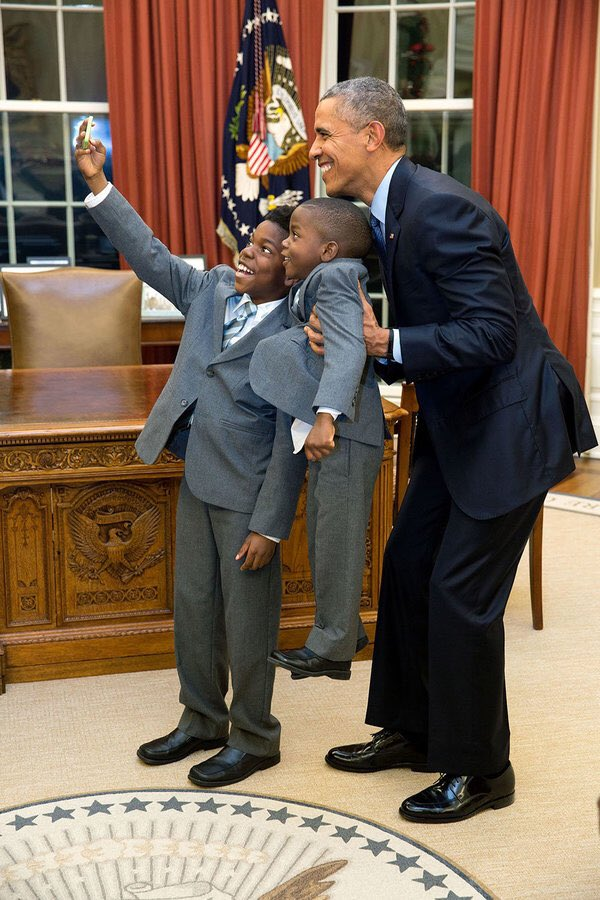 President Obama, because of you 'those brown kids' know that they too can one day be President of the U.S. #ObamaAndKids #ObamaFarewell