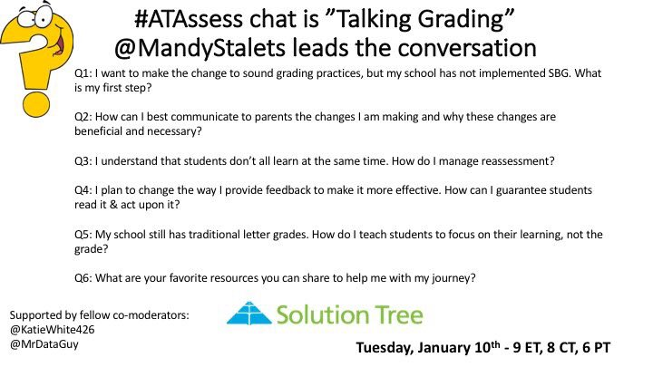 #ATAssess has begun! Join colleagues in responding to Q1 about first steps to sound grading practices... https://t.co/qqPCVx97n4