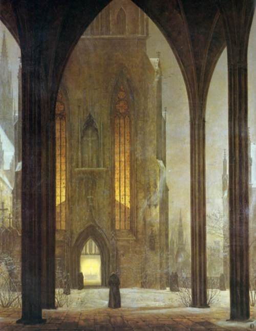 #DonneInArte per  #LeLuciDInverno  Cathedral in Winter, Ernst Ferdinand Oehme (1797-1855)  @chefare1 @MariangelaSant8 @roby10mg https://t.co/TDCXQSvkPM
