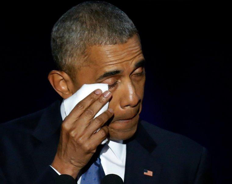 #Obama conclut son dernier discours à #Chicago par 'Yes we did' (oui nous l'avons fait)