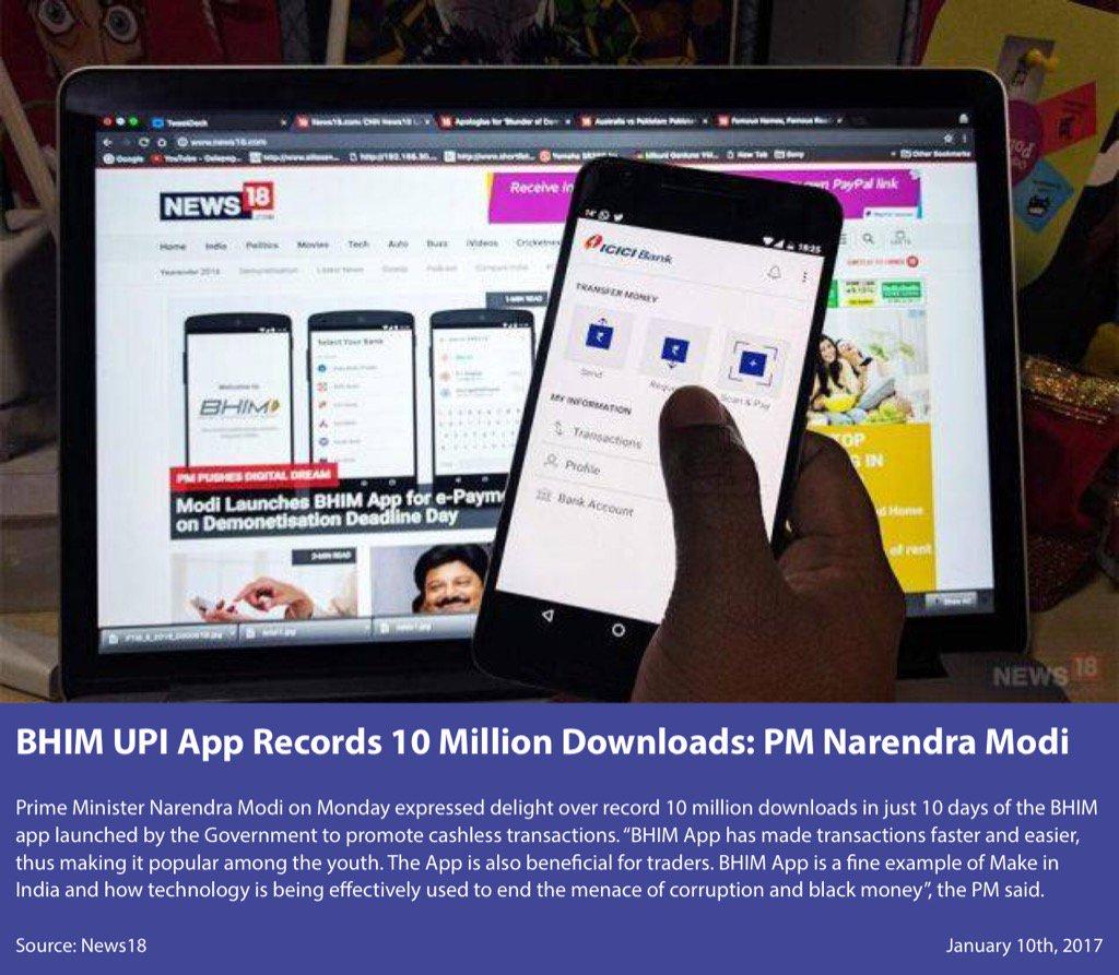 #BHIM UPI App Records 10 Million Downloads: PM Sh @narendramodi  #TransformingIndia #BHIMApp  http://www. news18.com/news/tech/bhim -upi-app-records-10-million-downloads-pm-narendra-modi-1333463.html &nbsp; … <br>http://pic.twitter.com/KupCldnYYP