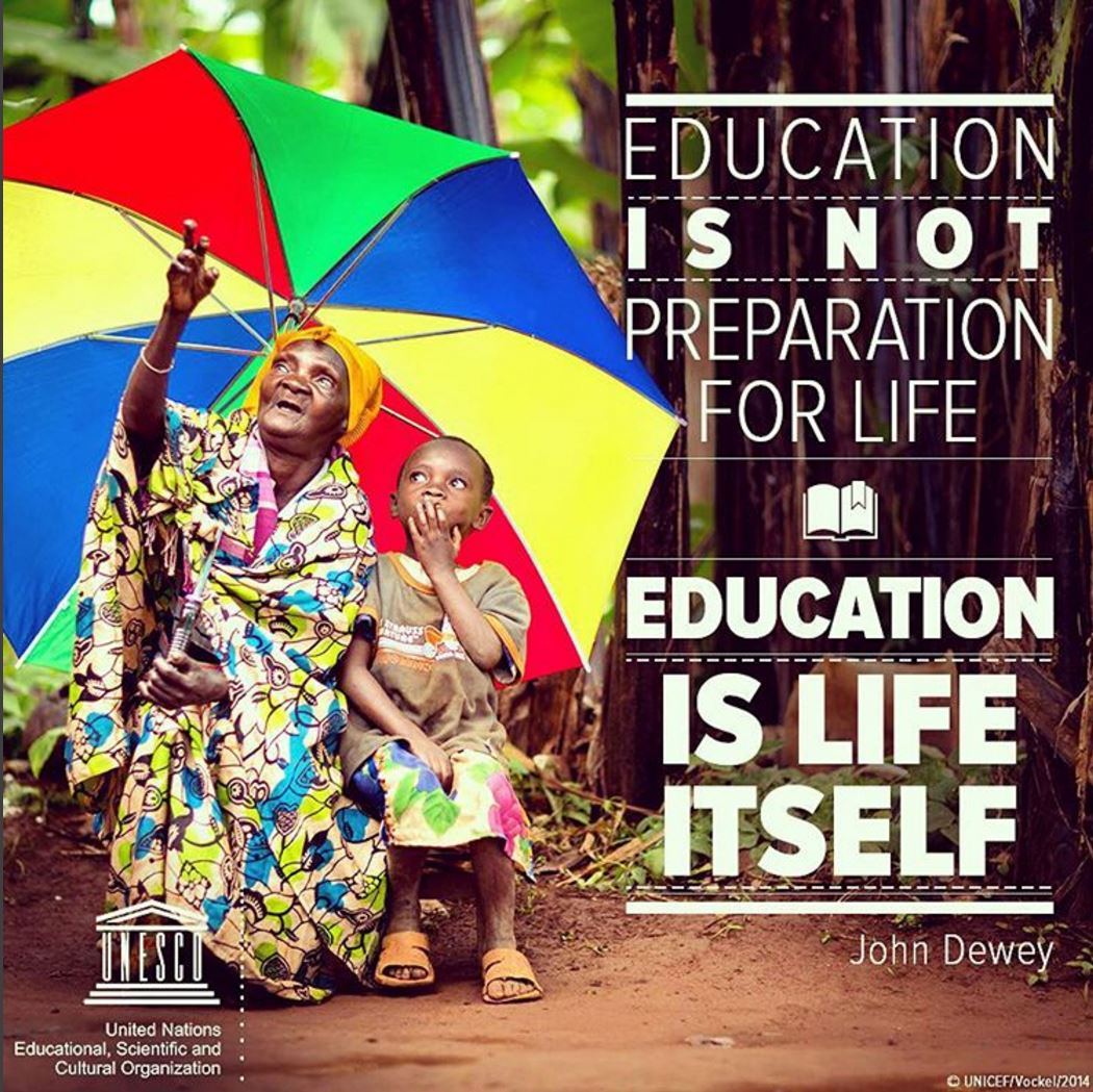The 'E' in UNESCO = Education, the foundation of any lasting #peace....