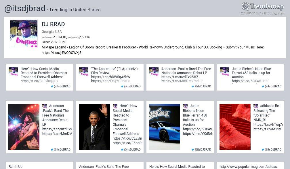 DJ BRAD, @itsdjbrad is now trending in United States  https://t.co/YH0aBiYB8I https://t.co/iSMUDfBFBk