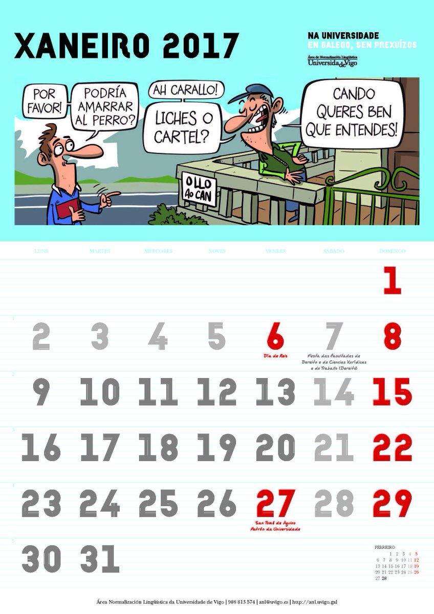A Área de Normalización Lingüística edita un calendario ilustrado por Luís Davila https://t.co/m7qZxd7lY9 https://t.co/5hfgxVPAJl