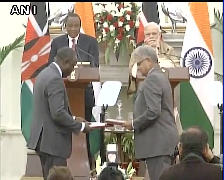 Delhi: Exchange of MoUs between Kenya and India underway; PM Modi and Kenya President Uhuru Kenyatta to issue joint statements shortly