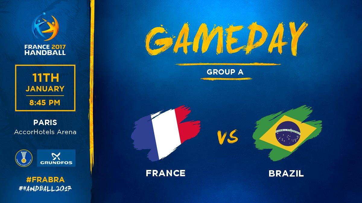 🇫🇷 France ⚡️ Brésil 🇧🇷 📍Paris 🕑 20:45 📲 #FRABRA   #Handball2017 #Pheno...