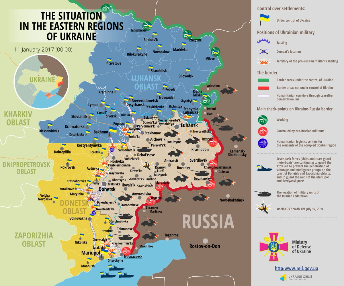 Map. Situation in eastern Ukraine January 11, 2017, 00:00 EET