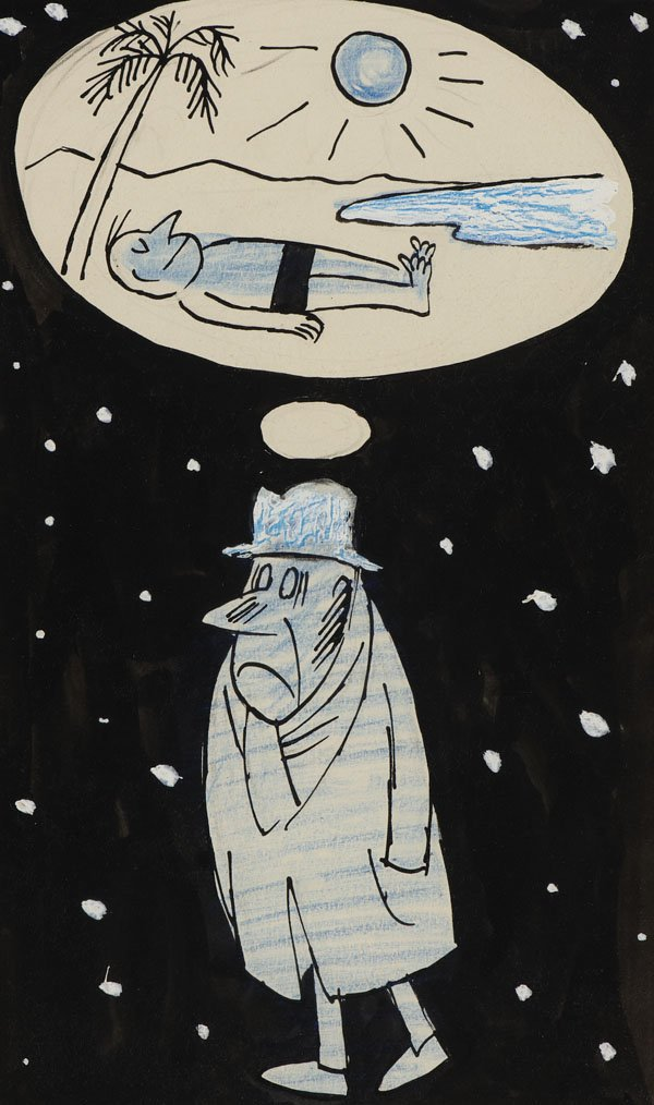 Dreaming of a holiday? Enjoy our #WorkoftheWeek Winter of Discontent by Victor Weisz (Vicky). Collection: https://t.co/aKDjYC6pm2 #cartoon