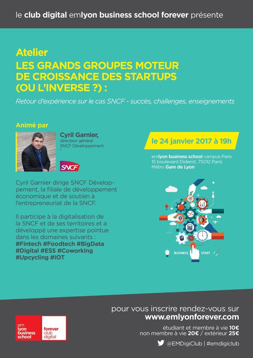 A venir : Club #Digital Paris le 24/01 &quot;Les grands groupes moteur de #croissance des #startups (ou l&#39;inverse ?)&quot; … https://emlyon- business-school-forever.hivebrite.com/networks/emlyo n-business-school-forever/events/1398 &nbsp; … <br>http://pic.twitter.com/P1cuYnDeBS