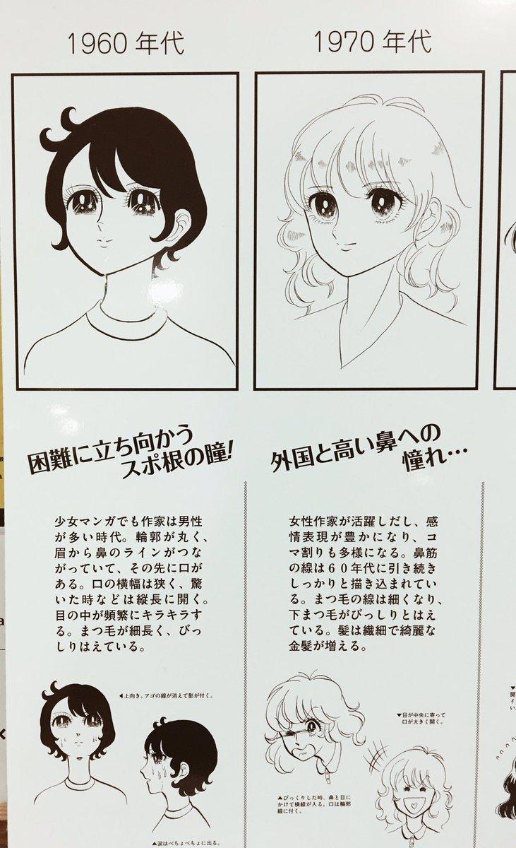京都精華大のマンガ学部の前に置いてあった、「少女マンガの絵柄♡変遷顔年表」てのが面白かったし私は90年代勢です  #京都精華大学 #マンガ学部 #少女漫画