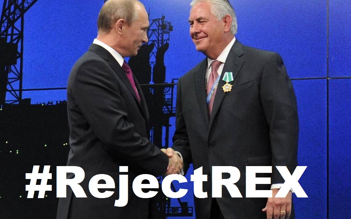 Rex Tillerson&#39;s friendship with Putin, who continously attacks our democracy, should make every patriot say LOUD &amp; CLEAR: #RejectREX! <br>http://pic.twitter.com/ceHMX5wFVV