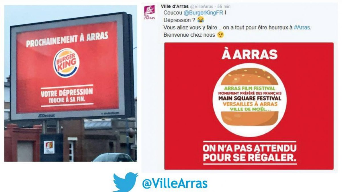 #BurgerKing : la Ville d&#39;#Arras pas peu fière de son joli coup de com'  http:// vdn.lv/2xZZsc  &nbsp;  <br>http://pic.twitter.com/YsOGaIs3oM