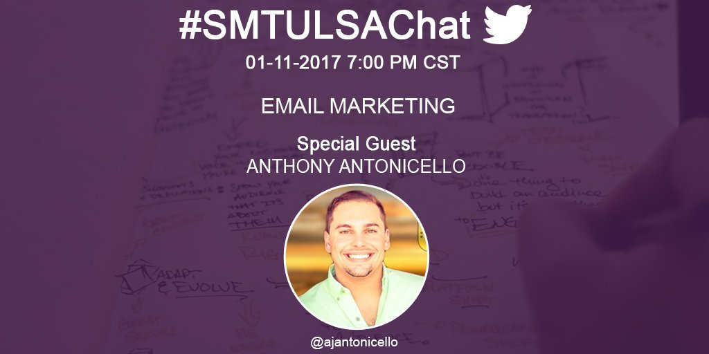 We're baaaaaack Let's get this 2017 #smtulsachat party started. Join us tonight at 7pm CST with our guest #smtulsa speaker @AjAntonicello https://t.co/RArjGVWIZn