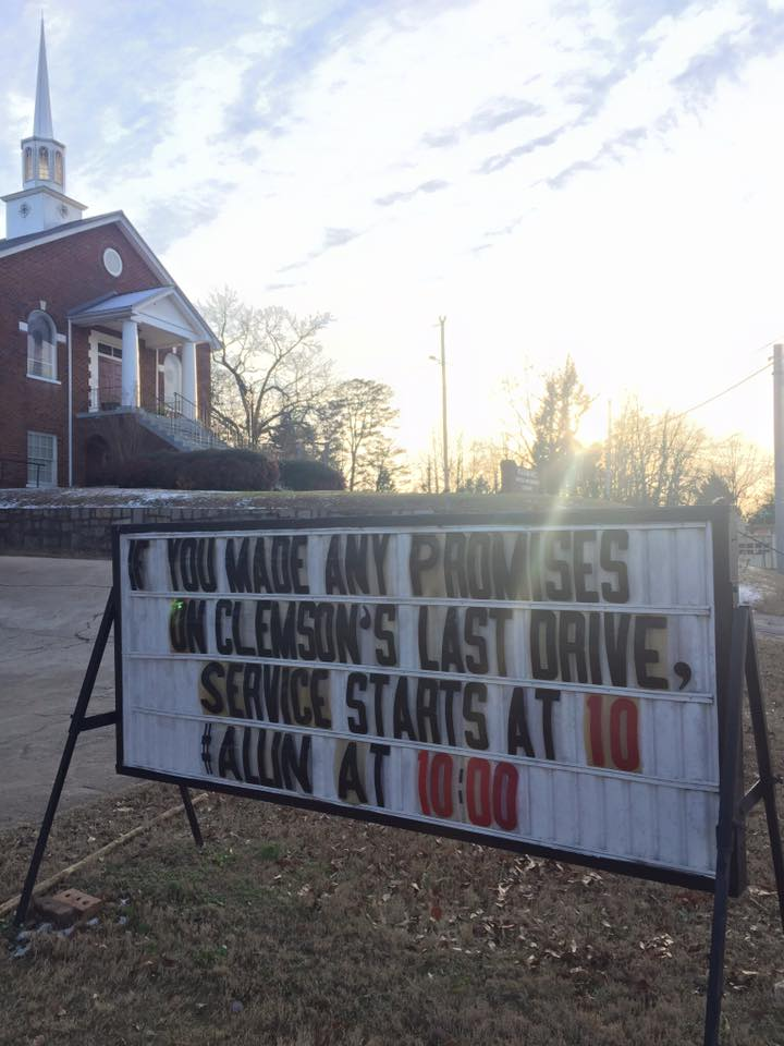 Piedmont United Methodist Church in Upstate SC has this reminder for all #Clemson fans.. just in case. https://t.co/QDuKliJxQi