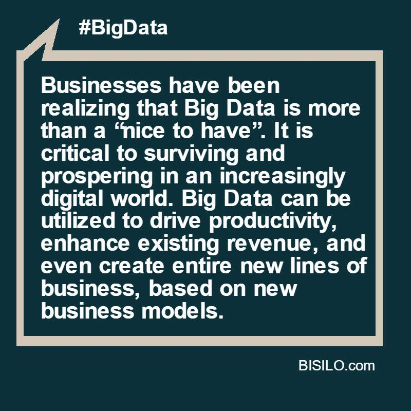 #BigData drives productivity and enhance revenue. https://t.co/kg9Yeglqzy