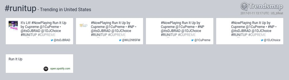 #runitup is now trending in United States  https://t.co/aMIS3cdjNF https://t.co/xeQlkm4vMx