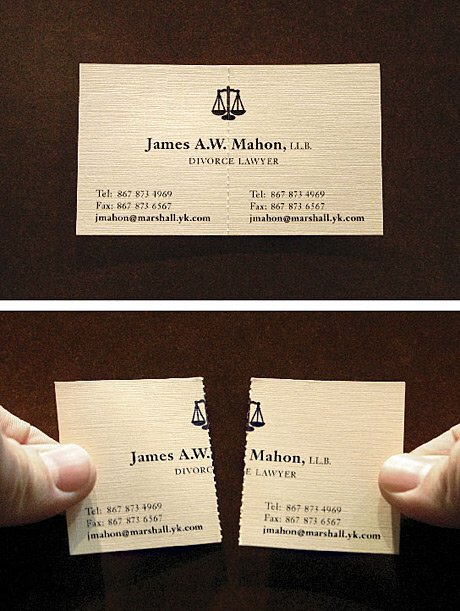 This design for a divorce lawyer's business card. #creativity https://t.co/SD3NkzAek7