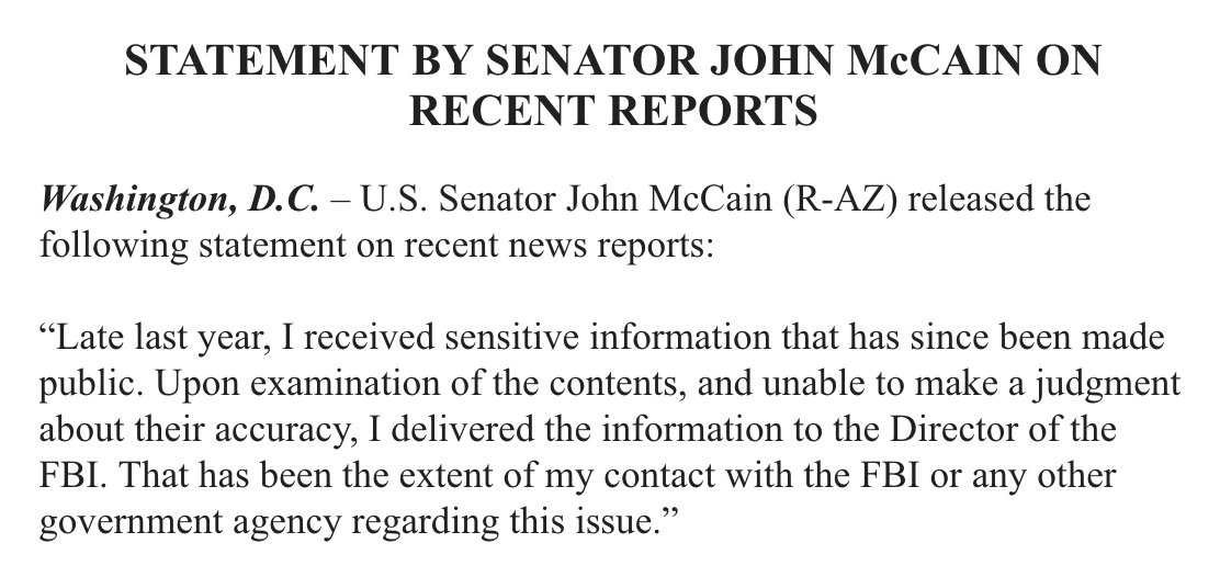 Sen. McCain confirms what has been reported, that he was given info on the Trump/Russia allegations and passed it on to FBI Director Comey