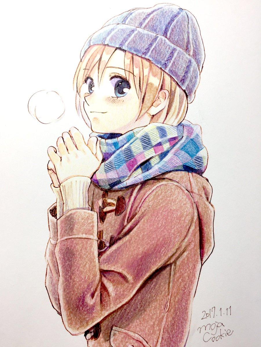 もじゃクッキー در توییتر 色鉛筆で 冬っぽい女の子を塗りました 完成です