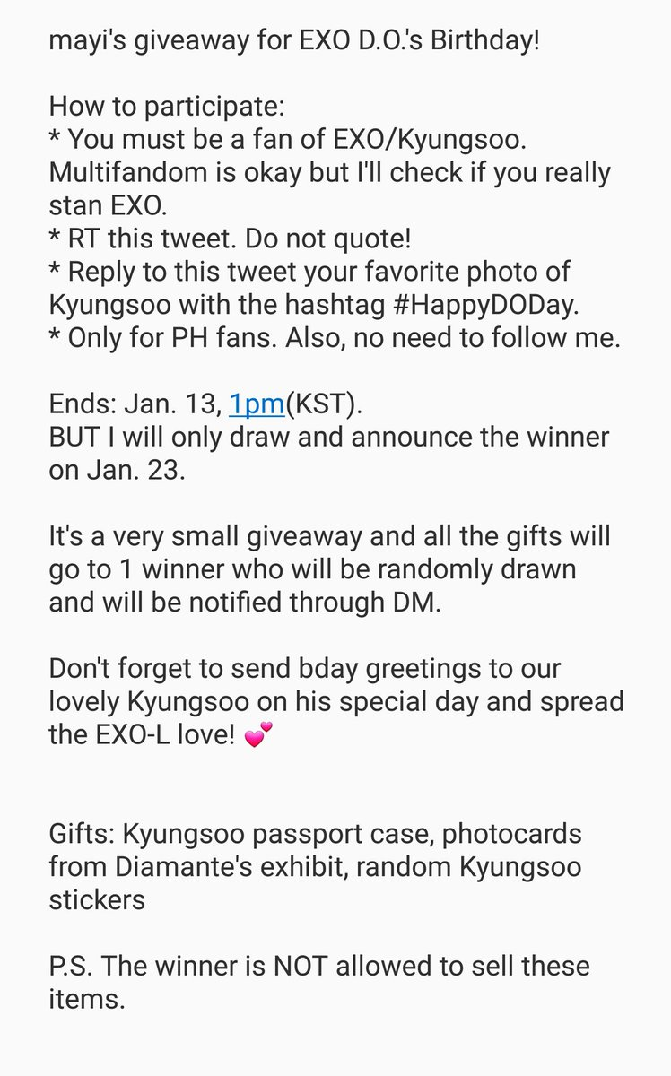 [Pls RT - PH only] Small giveaway for Kyungsoo\'s birthday~ Pls read the details and join~ 😘 #HappyDODay  #경수야생일축하해 💗