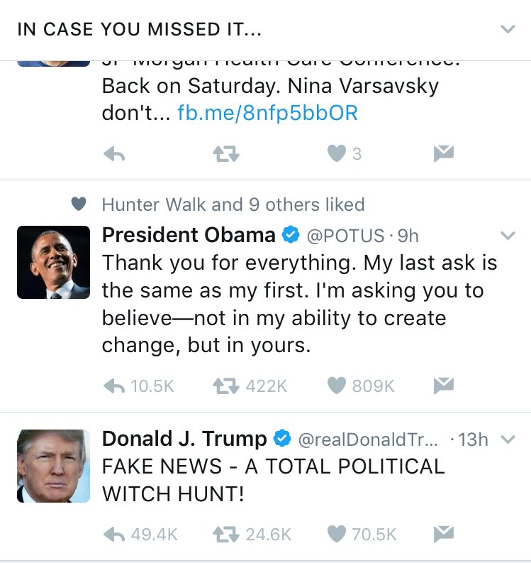 The previous and incoming Presidents contrast couldn't be clearer on my Twitter timeline this AM https://t.co/thFLrwfZZM