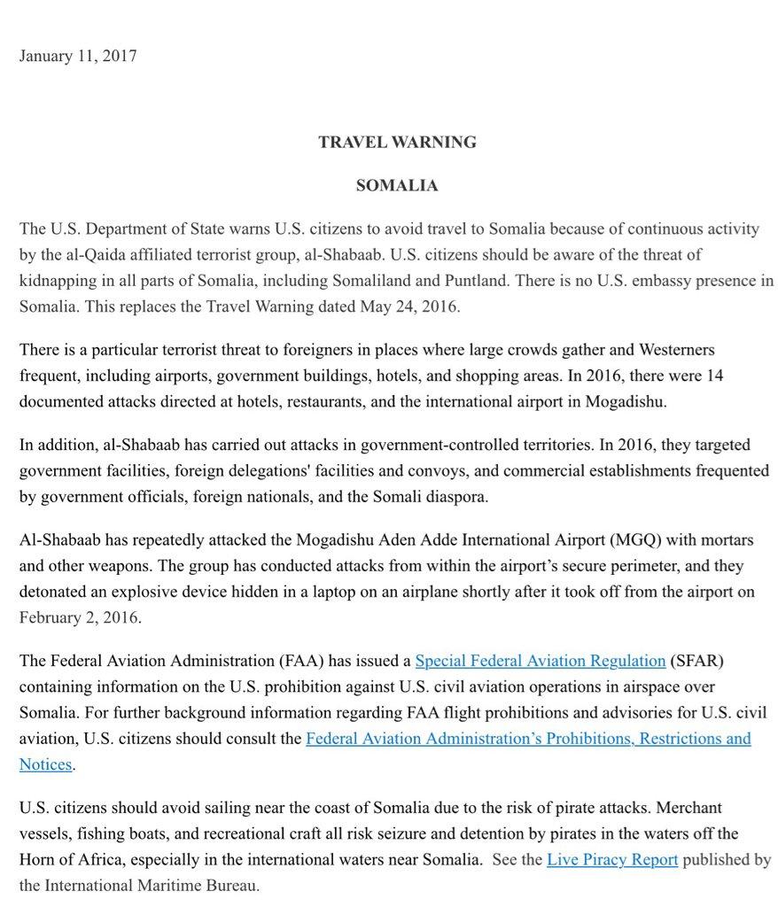 Updated @StateDept travel warning for Somalia.