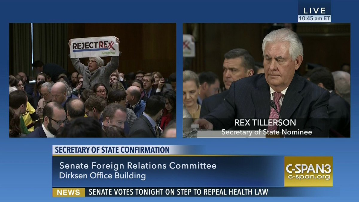 Protester removed from Rex #Tillerson confirmation hearing – LIVE on C-SPAN3  http:// cs.pn/2iFD7QB  &nbsp;  <br>http://pic.twitter.com/ou6gXORns8