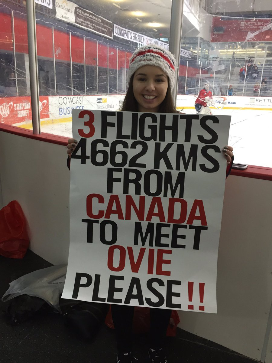 Sarah Periera, 19 year old from Kitimat British Columbia, Ovechkin super fan hoping to meet him! Flew in y&#39;day going to game tonite #NBC4DC <br>http://pic.twitter.com/YaJgSvFaKq
