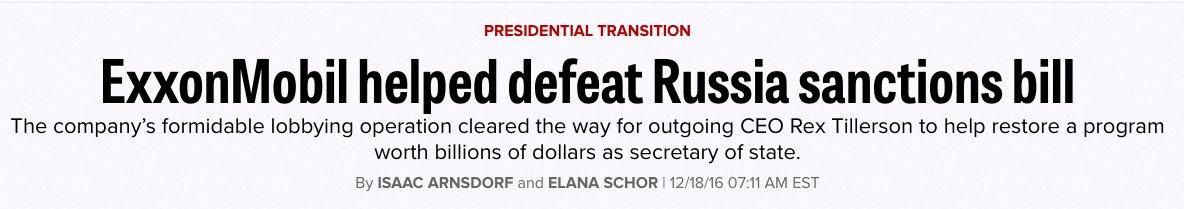 Tillerson just denied that Exxon lobbied against sanctions   That's fa...